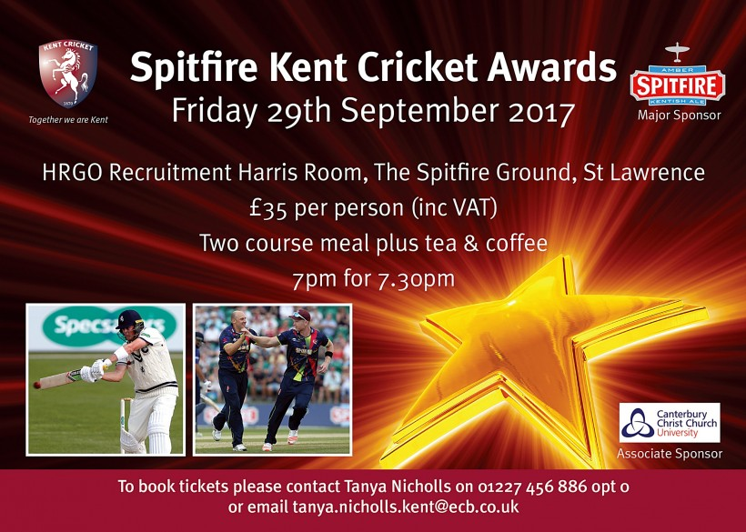Spitfire Kent Cricket Awards 2017 at The Spitfire Ground