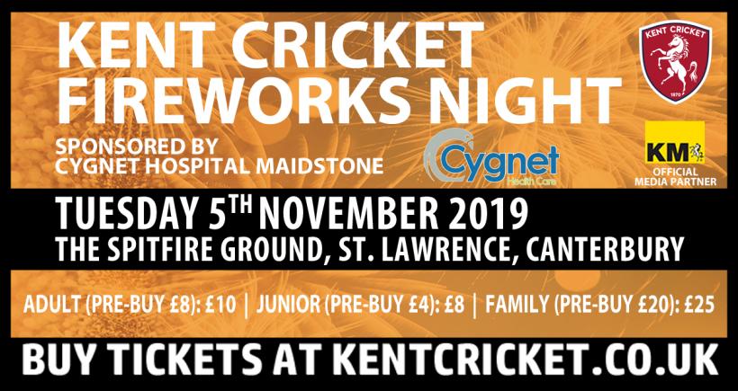 Kent Cricket Fireworks Night sponsored by Cygnet Hospital Maidstone