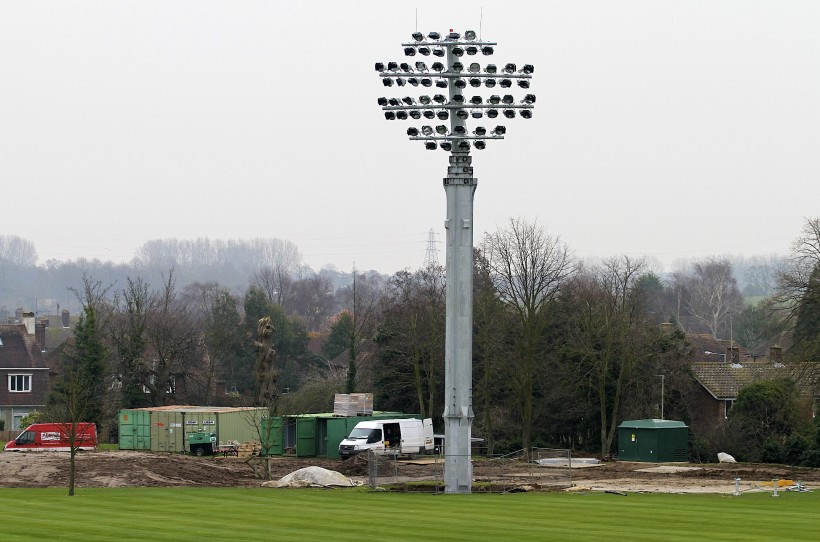 The first floodlight is up