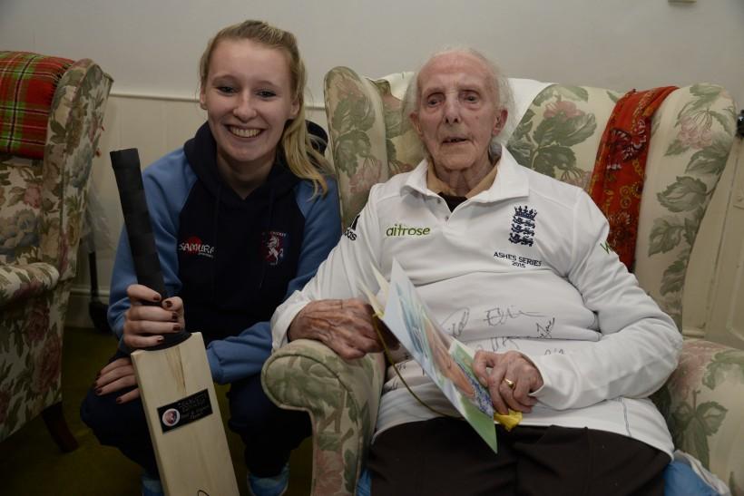 Ex-England bowler Megan Lowe celebrates 100th birthday