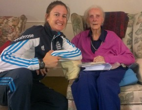 Test star Megan Lowe celebrates 99 not out with Lydia Greenway